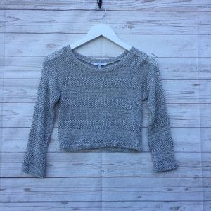 Cropped Heather Gray Lightweight Sweater